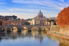 Vatican City And Sant Angelo Bridge , Rome , Italy Royalty Free Stock Photography