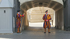 VATICAN CITY, AUGUST 2015: swiss guards of pope stock footage
