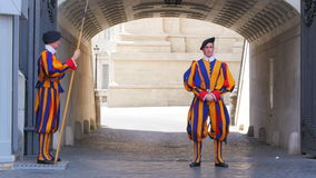 VATICAN CITY, AUGUST 2015: swiss guards of pope stock video footage