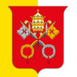 Vatican City coat of arms on holy see flag Stock Photography