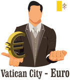 Vatican City currency symbol euro representing money and Flag. Vector design concept of businessman in suit with his open hand over with currency isolated on Stock Photo