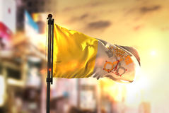 Vatican City Flag Against City Blurred Background At Sunrise Bac Royalty Free Stock Images