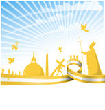 Vatican city flag. On background royalty free illustration
