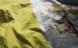 Vatican City Flag Rumpled Close Up.  stock images