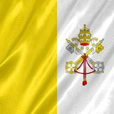 Vatican City Flag. With waving on satin texture vector illustration