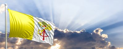 Vatican City flagga på blå himmel illustration 3d stock illustrationer