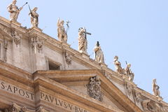 Vatican city. Fragments of the Papal Basilica of St. Peter. Royalty Free Stock Images