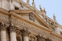 Vatican city. Fragments of the Papal Basilica of St. Peter. Royalty Free Stock Image
