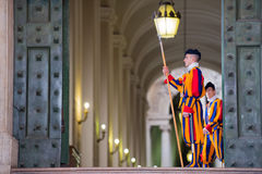 VATICAN CITY, ITALY - MARCH 1, 2014 : A member of the Pontifical Swiss Guard, Vatican. Stock Photo