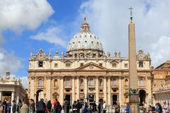 Vatican City. ITALY - May 31: Visitors stream into Saint Mark's square on May 31, 2013.  is the smallest independently recognized state in the world royalty free stock photography