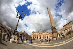Vatican City. ITALY - May 31: Visitors stream into Saint Mark's square on May 31, 2013.  is the smallest independently recognized state in the world royalty free stock photo