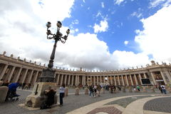Vatican City. ITALY - May 31: Visitors stream into Saint Mark's square on May 31, 2013.  is the smallest independently recognized state in the world stock photography
