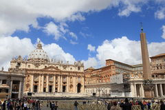 Vatican City. ITALY - May 31: Visitors stream into Saint Mark's square on May 31, 2013.  is the smallest independently recognized state in the world royalty free stock images
