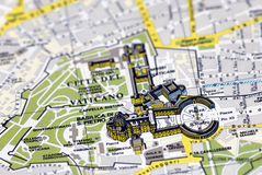 The Vatican city on the map. A map focused on Vatican city. The Saint Peter church is in focus, while the rest is slightly blurred Stock Photo