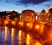 Vatican City by Night. A picture of Vatican City by night. The Via dela Conciliazione can be seen as well as the Saint Peter Basilica Stock Photos