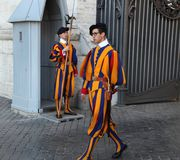 Vatican City, Vatican, Rome, Italy - April 10, 2016: Famous Swiss Guard in Vatican. The Papal Guard with 110 men probably is. The world`s smallest army royalty free stock photos