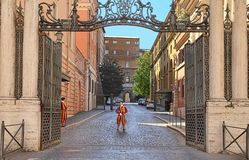 Vatican City, Vatican, Rome, Italy - April 10, 2016: Famous Swiss Guard in Vatican. The Papal Guard with 110 men probably is the. World`s smallest army stock photography