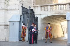 Vatican City, Rome/Italy - August 24, 2018: Changing of the Swiss Guards. Vatican City, Rome/Italy - August 24 2018: Ceremonial Guard in Vatican City stock image