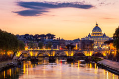 Vatican City, Rome, Italy, Beautiful Vibrant Night image Panoram Stock Images