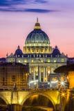 Vatican City, Rome, Italy, Beautiful Vibrant Night image Panoram Stock Photo