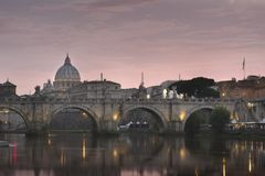 Vatican City, Rome, Italy, Beautiful Vibrant Night image Panorama of St. Peter`s Basilica, Ponte St. Angelo and Tiber River at Dus. K in Summer. Reflection of stock photography