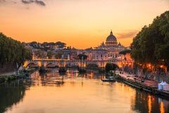 Vatican City, Rome, Italy, Beautiful Vibrant Night image stock photo