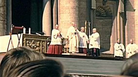 Pope Saint Paul VI celebrating mass. Vatican City, Rome, Italy - Circa 1970: old Pope Saint Paul VI celebrating the mass for believers in Saint Peter basilica of stock video footage