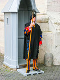 Vatican city, Rome, Italy - May 02, 2014: The Swiss guard standing with a halberd circa Stock Photos