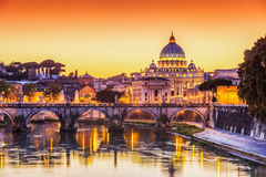 Vatican City, Rome. Italy. San Pietro Basilica and Ponte St Angelo at sunset. Rome, Italy stock photo