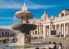 Vatican City, Rome, Saint Peters Basilica in St. Peter`s Square. Vatican City, Rome, Saint Peters Basilica in St. Peters Square. Basilica St Peter is one of the royalty free stock photo