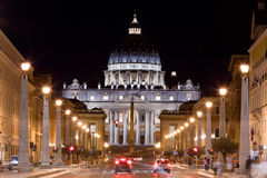 Vatican City. St. Peter's Basilica at night. Royalty Free Stock Photos