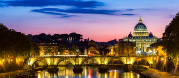 Vatican city. St Peter's Basilica. Panoramic view of Rome and St Royalty Free Stock Images