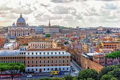 Vatican City and St Peter`s Cathedral view, Rome, Italy stock photography