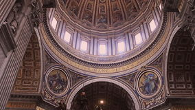 Vatican City, St. Peters Basilica. Walls and dome in St. Peters Basilica in the Vatican stock video footage