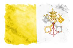 Vatican City State flag is depicted in liquid watercolor style isolated on white background. Careless paint shading with image of national flag. Independence vector illustration