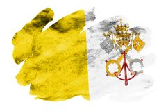 Vatican City State flag is depicted in liquid watercolor style isolated on white background. Careless paint shading with image of national flag. Independence stock illustration