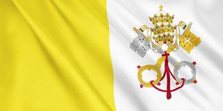 Vatican City State flagga som vinkar med vinden stock illustrationer