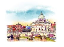 Vatican city, Italy. Watercolor sketch. Vatican City State was founded following the signing of the Lateran Pacts between the Holy See and Italy on February 11th vector illustration