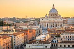Vatican city at sunset in Rome, Italy stock photos