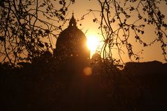 The Vatican City during sunset in Rome royalty free stock photography