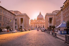 Vatican City at sunset. St. Peters Dome Basilica in Rome, Italy. Papal seat. Royalty Free Stock Photography