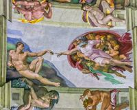 Sistine Chapel - Michelangelo's God Creating Adam royalty free stock photography