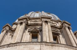 VATICAN CITY, VATICAN, Italy - March 2019: Fragments of the Papal Basilica of St. Peter San Pietro Piazza in the Vatican and. Columns on Saint Peter`s square in royalty free stock photo