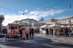 VATICAN CITY,VATICAN-January 6 : Tourists on foot Saint Peter's square Royalty Free Stock Photography