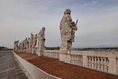 Saint Peter Facade, saints and Jesus  Statues Royalty Free Stock Photos