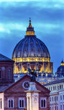Vatican Dome Buildings Night Rome Italy Stock Photo