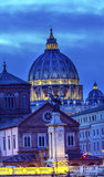 Vatican Dome Buildings Night Rome Italy Stock Image