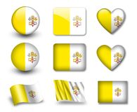 The Vatican flag. Set of icons and flags. glossy and matte on a white background Stock Photo