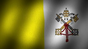 Vatican flag. Animated, waving flag composed by two vertical lines in yellow and white with a logo composed by a silver key and a golden one tied by a red stock video