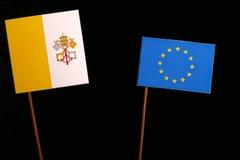 Vatican flag with European Union EU flag  on black Stock Photography